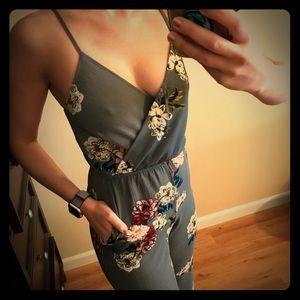 ASOS grey floral  jumpsuit/romper